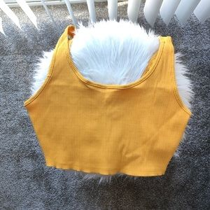 Ribbed Yellow Crop Top